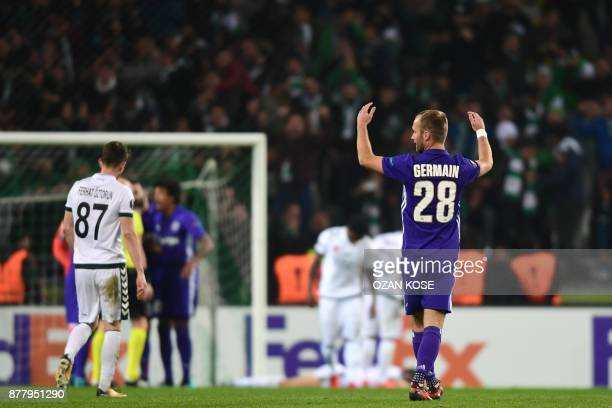 Olympique de Marseille's Valere Germain reacts after penalty during the UEFA Europa League Group I football match between Konyaspor and Olympique de...