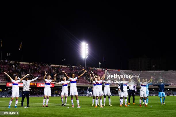 Olympique Lyon players celebrate after the UEFA Women's Champions League Quarter Final 2nd Leg match between FC Barcelona Women and Olympique Lyon...