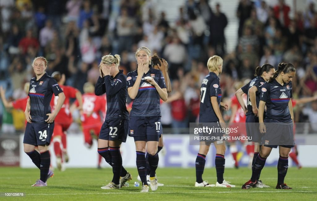 Olympique Lyon players looks dejected after being defeated by FCC Turbine Potsdam in their UEFA women's Final Champions League football match at Coliseum Alfonso Pérez on May 20, 2010 in Getafe. Potsdam won 7-6 after the penalty session following a 0-0 draw.