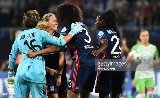 Olympique Lyonnais' celebrate their second goal during the UEFA Women's Champions League final football match Vfl Wolfsburg vs Olympique Lyonnais at...