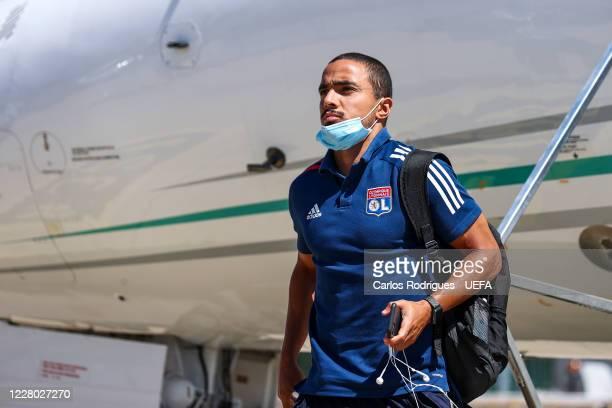 Olympique Lyonnais defender Rafael da Silva arrives in Lisbon with the Olympique Lyonnais team for the Champions League ate Humberto Delgado Airport...