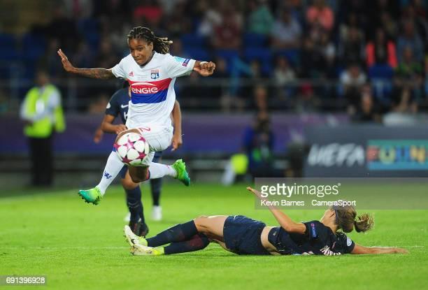 Olympique Lyonnais' Elodie Thomis evades the tackle of Paris SaintGermain's Irene Paredes during the UEFA Women's Champions League Final match...