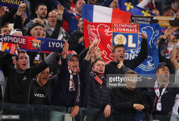 Olympique Lyonnais fans support their team before the UEFA Europa League Round of 16 second leg match between AS Roma and Olympique Lyonnais at...