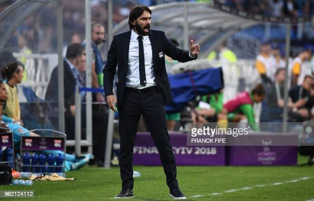 Olympique Lyonnais' French coach Reynald Pedros gestures on the sideline during the UEFA Women's Champions League final football match Vfl Wolfsburg...