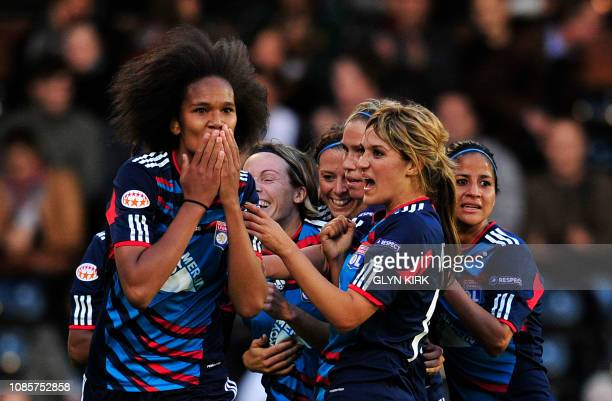 Olympique Lyonnais' French defender Wendie Renard celebrates scoring the opening goal during their UEFA women's Champions League final football match...
