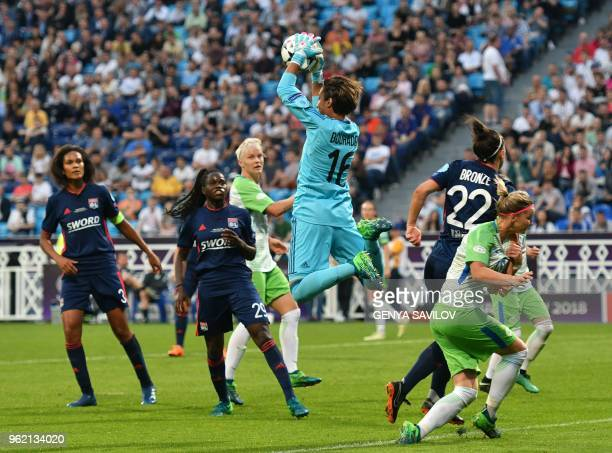 Olympique Lyonnais' French goalkeeper Sarah Bouhaddi catches the ball during the UEFA Women's Champions League final football match Vfl Wolfsburg vs...