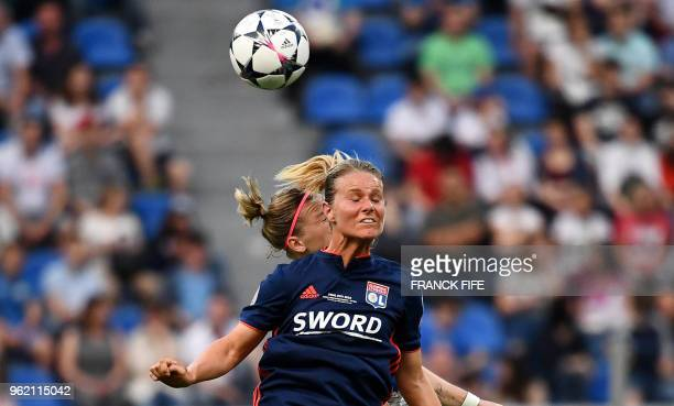Olympique Lyonnais' French midfielder Amandine Henry heads the ball during the UEFA Women's Champions League final football match Vfl Wolfsburg vs...