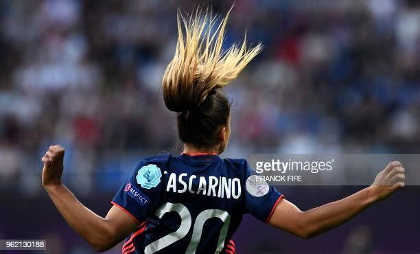 TOPSHOT Olympique Lyonnais' French midfielder Delphine Cascarino gestures on the pitch during the UEFA Women's Champions League final football match...