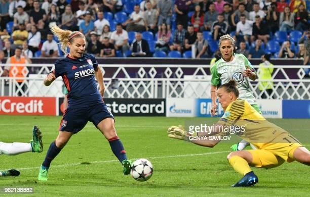 Olympique Lyonnais' French midfielder Eugenie Le Sommer scores their second goal during the UEFA Women's Champions League final football match Vfl...