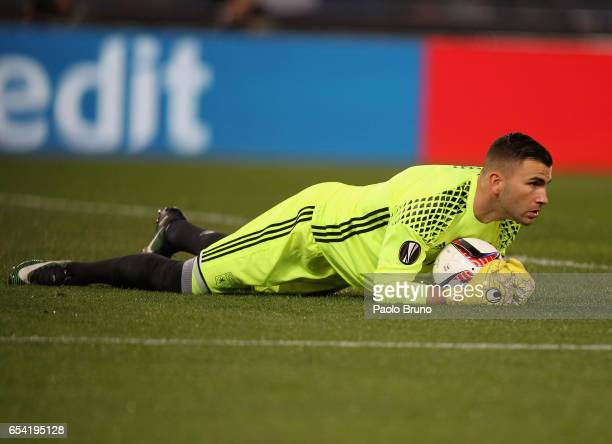 Olympique Lyonnais goalkeeper Anthony Lopes in action during the UEFA Europa League Round of 16 second leg match between AS Roma and Olympique...