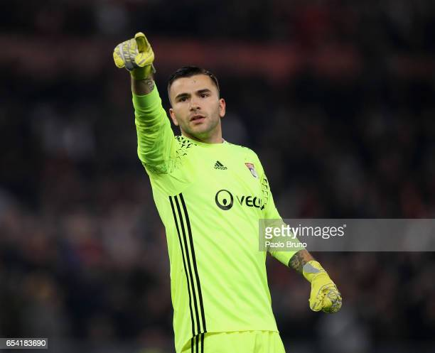 Olympique Lyonnais goalkeeper Anthony Lopes reacts after the opening goal scored by Mouctar Diakhaby during the UEFA Europa League Round of 16 second...