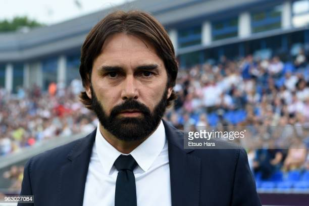 Olympique Lyonnais head coach Reynald Pedros looks on prior to the UEFA Womens Champions League Final between VfL Wolfsburg and Olympique Lyonnais on...