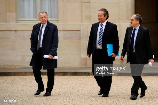 Olympique Lyonnais L1 football club president JeanMichel Aulas President of the French professional clubs union JeanPierre Louvel and French Football...