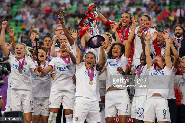 Olympique Lyonnais lift the trophy after the UEFA Women's Champions League Final between Olympique Lyonnais v FC Barcelona Women at Groupama Arena on...