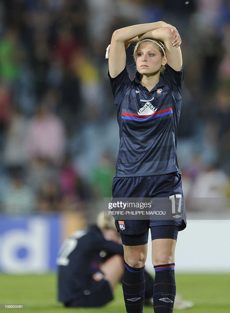 Olympique Lyonnais' midfielder Corine Franco looks dejected after being defeating by FCC Turbine Potsdam their UEFA women's Final Champions League football match at Coliseum Alfonso Pérez on May 20, 2010 in Getafe. Potsdam won 7-6 after the penalty session following a 0-0 draw.