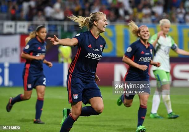 Olympique Lyonnais' Norwegian forward Ada Hegerberg celebrates after scoring their third goal during the UEFA Women's Champions League final football...