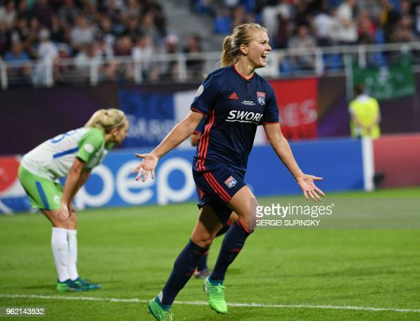 Olympique Lyonnais' Norwegian forward Ada Hegerberg celebrates after scoring their third goal during the UEFA Women's Champions League final football...