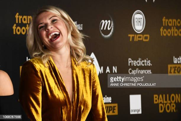 Olympique Lyonnais' Norwegian forward Ada Hegerberg poses upon arrival at the 2018 Ballon d'Or award ceremony at the Grand Palais in Paris on...