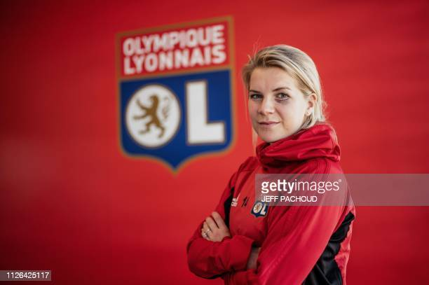 TOPSHOT Olympique Lyonnais' Norwegian forward and first woman Ballon d'Or Ada Stolsmo Hegerberg poses for photographs on February 18 2019 at the Parc...
