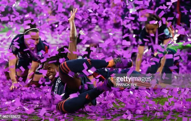 Olympique Lyonnais' players celebrate their victory after the UEFA Women's Champions League final football match Vfl Wolfsburg vs Olympique Lyonnais...