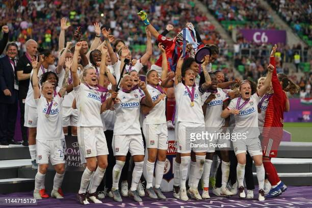 Olympique Lyonnais players during the trophy lift after their victory of the UEFA Women's Champions League Final between Olympique Lyonnais and FC...