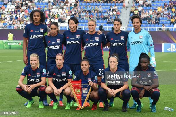 Olympique Lyonnais players line up for the team photos prior to the UEFA Womens Champions League Final between VfL Wolfsburg and Olympique Lyonnais...