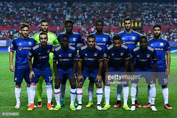 Olympique Lyonnais players pose for a team picture prior to the UEFA Champions League Group H match between Sevilla FC and Olympique Lyonnais at the...
