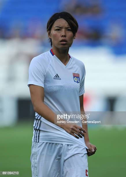 Olympique Lyonnais' Saki Kumagai during the prematch warmup during the UEFA Women's Champions League Final match between Lyon Women and Paris...