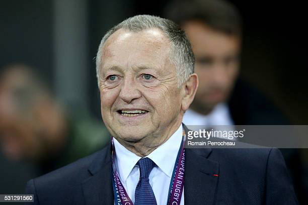 Olympique Lyonnais's president Jean Michel Aulas Looks on after the European Rugby Challenge Cup Final match between Harlequins and Montpellier at...