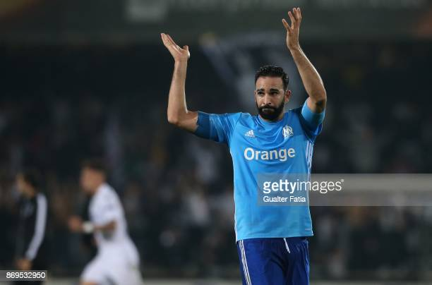 Olympique Marseille Adil Rami from France reaction at the end of the UEFA Europa League match between Vitoria de Guimaraes and Olympique Marseille at...