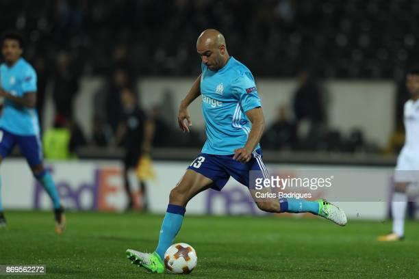 Olympique Marseille Aymen Abdennour from Tunisia during the match between Vitoria Guimaraes and Olympique Marseille match for UEFA Europa League at...