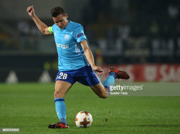 Olympique Marseille forward Florian Thauvin from France in action during the UEFA Europa League match between Vitoria de Guimaraes and Olympique...