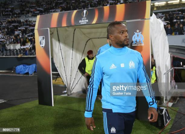 Olympique Marseille Patrice Evra from France before the start of the UEFA Europa League match between Vitoria de Guimaraes and Olympique Marseille at...