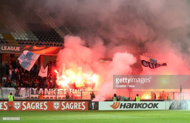Olympique Marseille supporters before the start of the UEFA Europa League match between Vitoria de Guimaraes and Olympique Marseille at Estadio D...