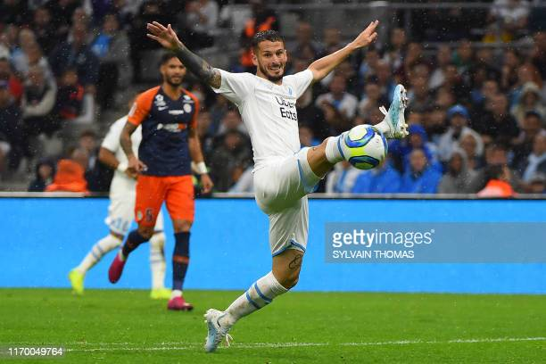 Olympique Marseille's Argentine forward Dario Benedetto controls the ball during the French L1 football match between Olympique de Marseille and...