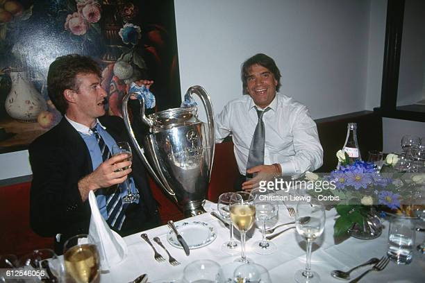 Olympique Marseille's captain Didier Deschamps with president of the club Bernard Tapie during a party after the European Champions Cup final season...