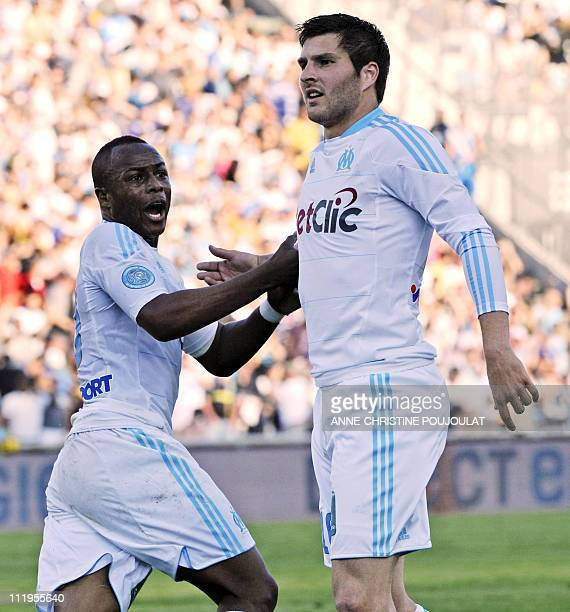Olympique Marseille's midfielder Andre Pierre Gignac celebrates after scoring a goal during the French L1 football match Marseille vsToulouse on...