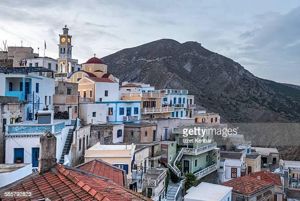 olympos village and agios ilias mountain - 時計台 ストックフォトと画像