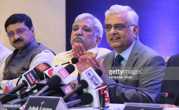 Om Prakash Rawat Chief Election Commissioner of India along with other EC officials interacts with media persons on September 18 2018 in Jaipur India...