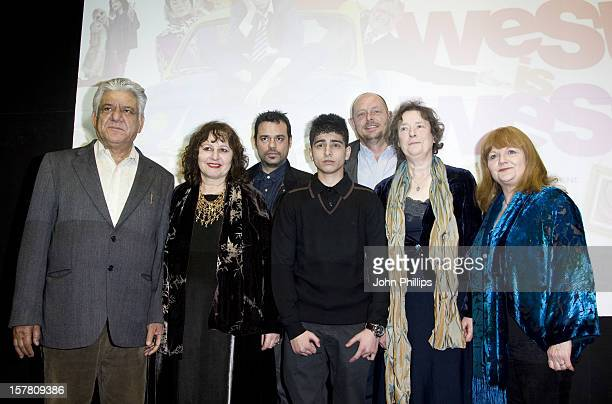 Om Puri Producer Leslee Undwin Emil Marwa Aqib Khan Director Andy De Emmony Linda Bassett And Lesley Nicol At The Premiere Of West Is West At The Bfi...