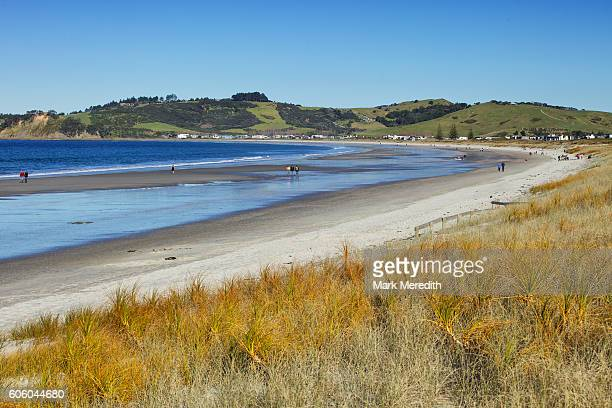 omaha beach north of auckland - omaha beach stock pictures, royalty-free photos & images