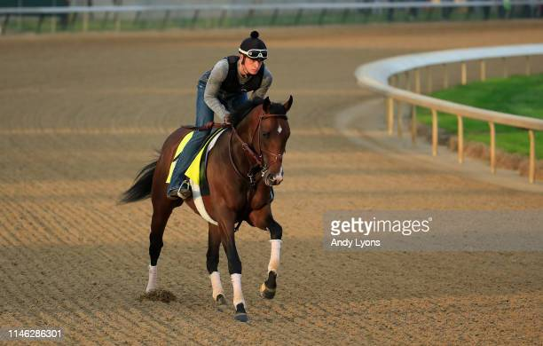 Omaha Beach runs on the track during morning training for the Kentucky Derby at Churchill Downs on May 1 2019 in Louisville Kentucky