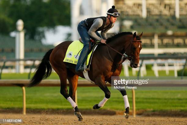 Omaha Beach trains on the track during morning workouts in preparation for the 145th running of the Kentucky Derby at Churchill Downs on May 1 2019...