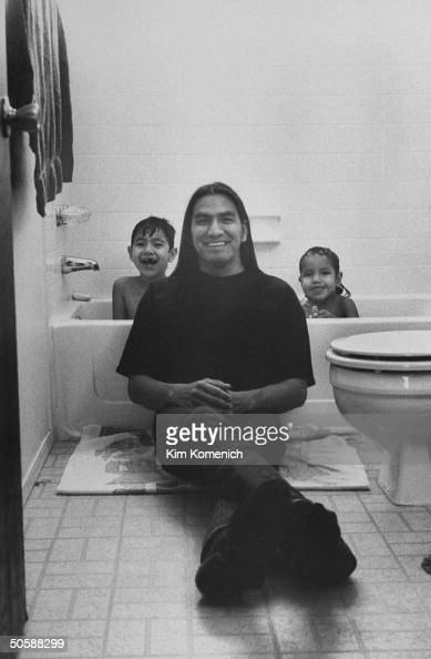 Omaha Indian Actor Rodney Grant Sitting On Floor In Front