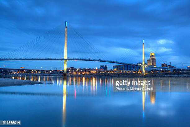 omaha kerry bridge - iowa v nebraska stock pictures, royalty-free photos & images