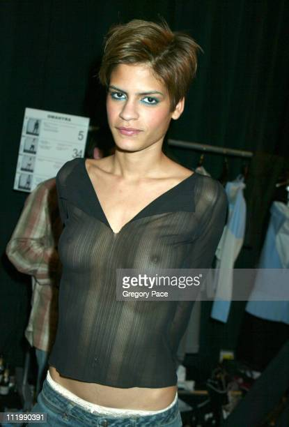 Omahyra backstage before the show during Marc Ecko Fall 2003 Fashion Show at Bryant Park Tents in New York NY United States