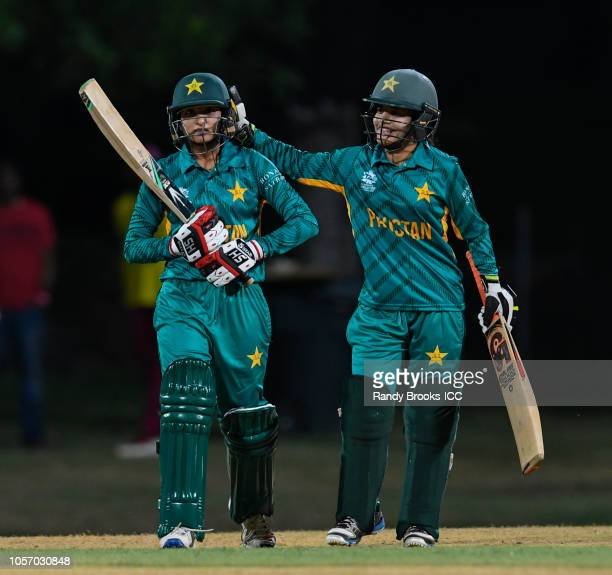 Omaima Sohail and Javeria Khan of Pakistan during a warmup match at Coolidge Cricket Ground on November 3 2018 in Coolidge Antigua and Barbuda
