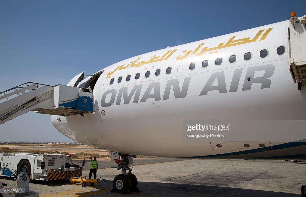 Oman Airways plane, Seeb International Airport, Muscat, Oman : News Photo