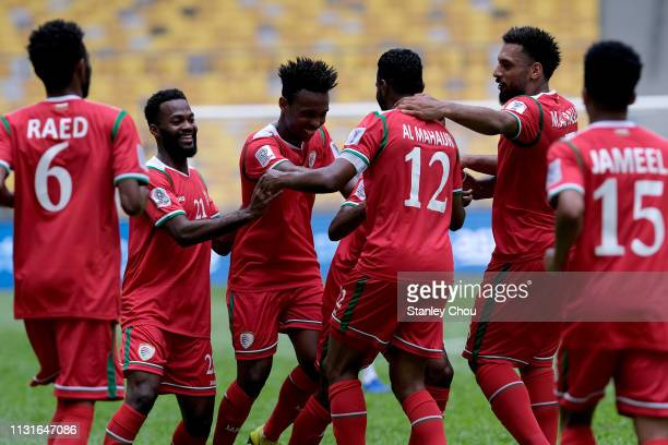 Oman Celebrates their1st goal against Afghanistan during the Airmarine Cup match between Oman and Afghanistan at Bukit Jalil National Stadium on...