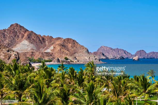 oman, gulf of oman, mascat, al bustan beach - muscat governorate stock pictures, royalty-free photos & images